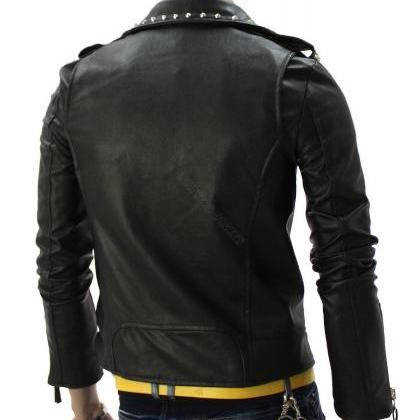 Men's Black Genuine Leather Jacket ..