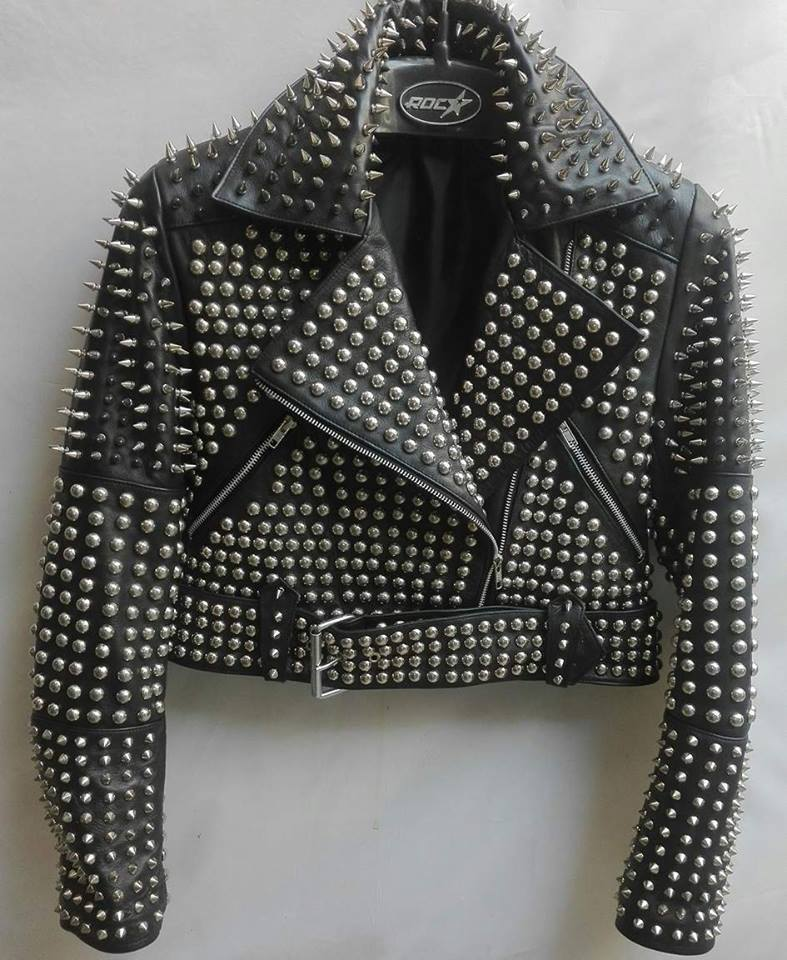Women's Silver Punks Full Studded Black Color Leather Jacket