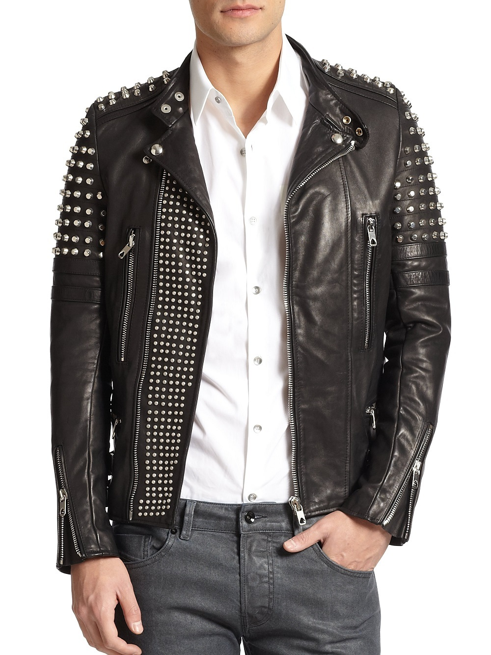 Made To Order Men's Silver Studs Black Magnificent Leather Jacket