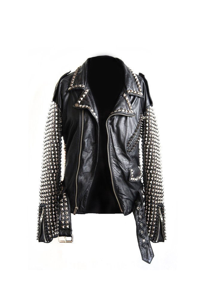 Men's Silver Studs Steam Punk Black Genuine Leather Jacket