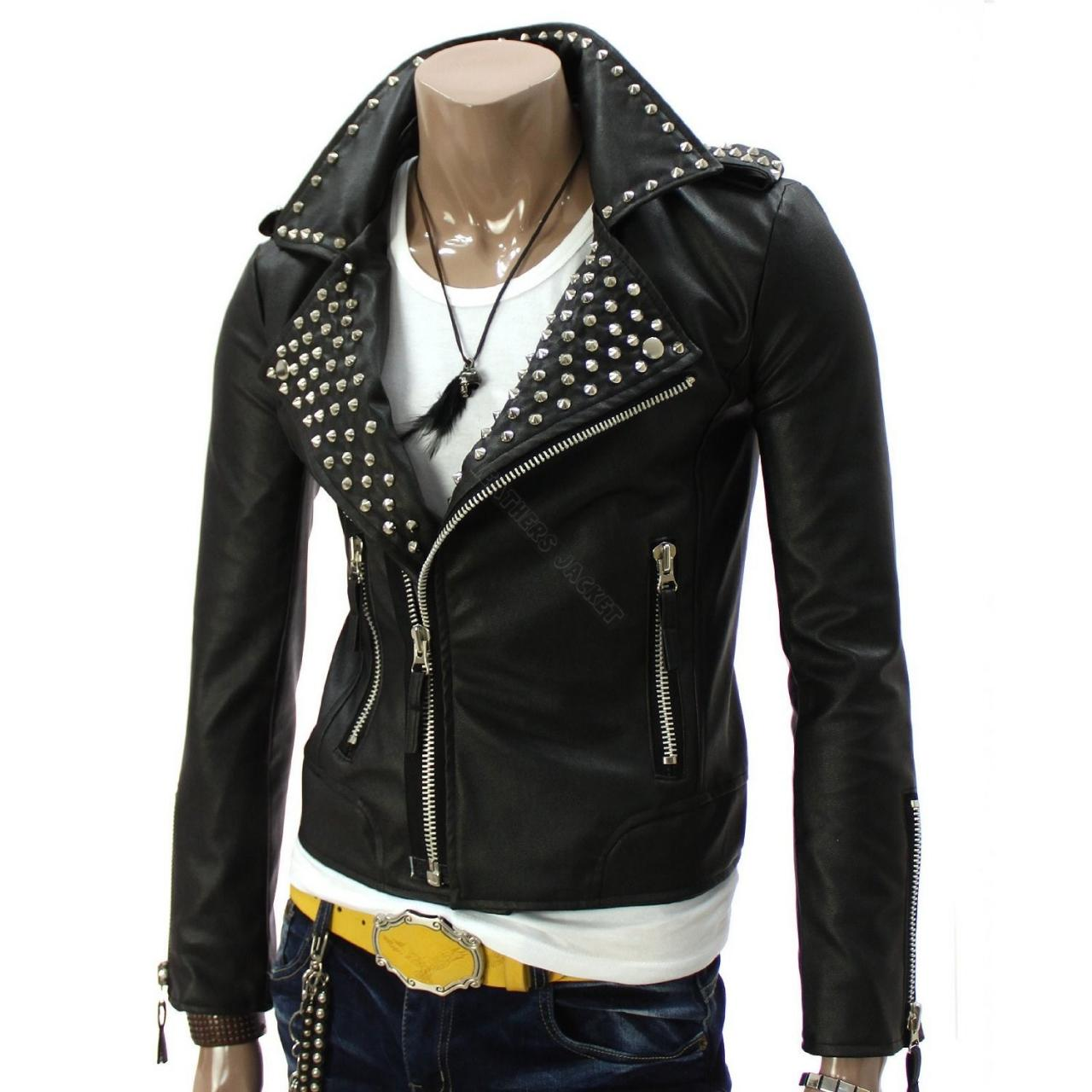 Men's Black Genuine Leather Jacket with High Quality Silver Studs