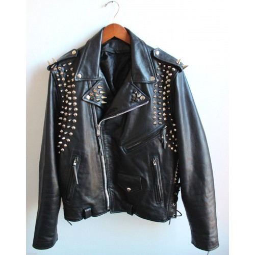 Black Real Motor Biker Genuine Leather Jacket Silver Studs Brando Style For Men