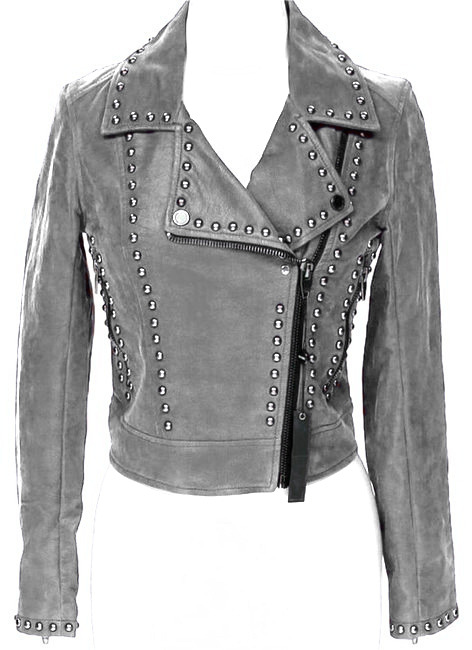 Gray Color Genuine Classical Leather Jacket Silver Studded Front Zipper For Men