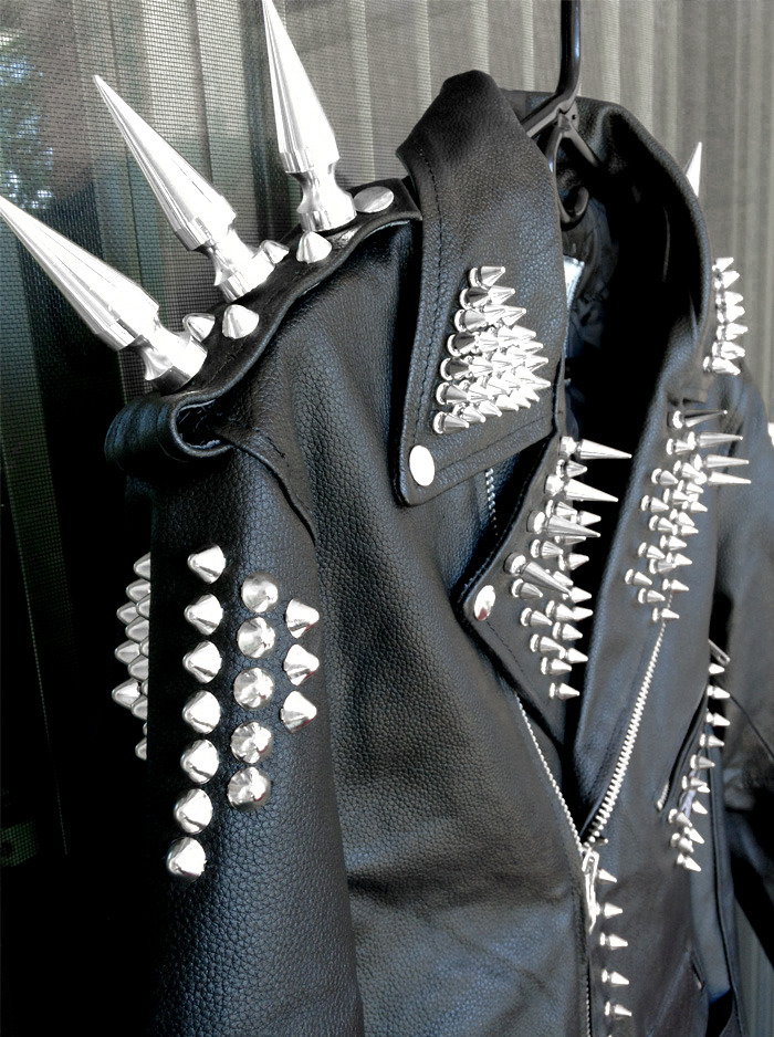 Men Black Elegant Genuine Leather Jacket Long Silver Spiked Studded Punk Style