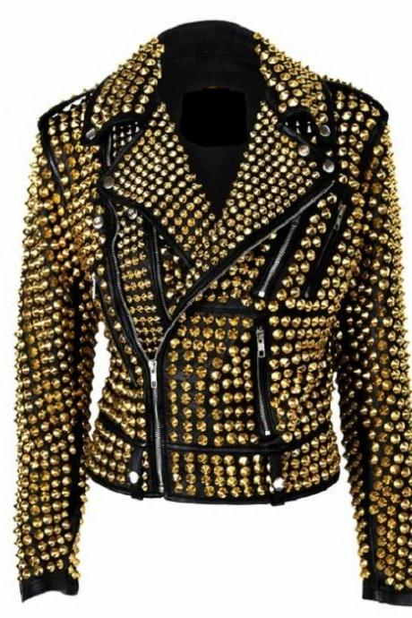 Custom Made Item For Womens Gold Studs Punk Rock Real Leather Jacket