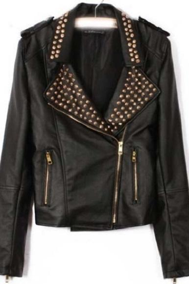 Made To Order New Fashion Studded Vintage Leather Jacket For Women's