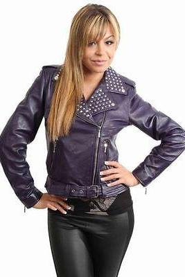 Brando Silver Studded Purple Color Women Genuine Leather Jacket