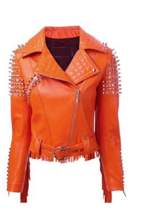 Made To Order Handcrafted Western Style Womens Fringes Studded Orange Leather Jacket