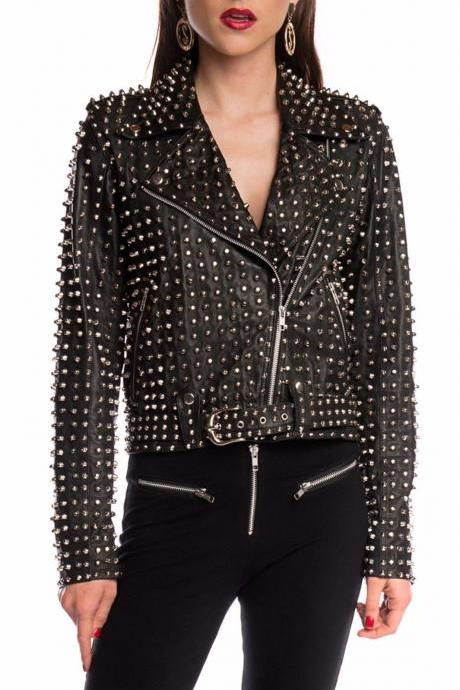 Custom Made Women Full Studded Genuine Black Leather Jacket