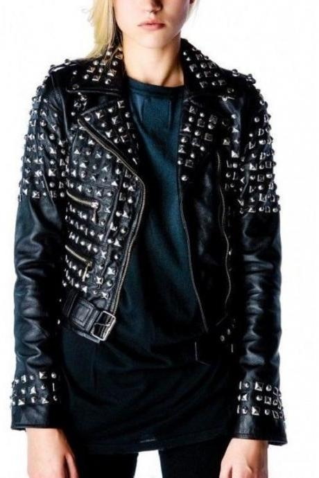 Made To Order Women Black Color Silver Studded Superior Leather Jacket
