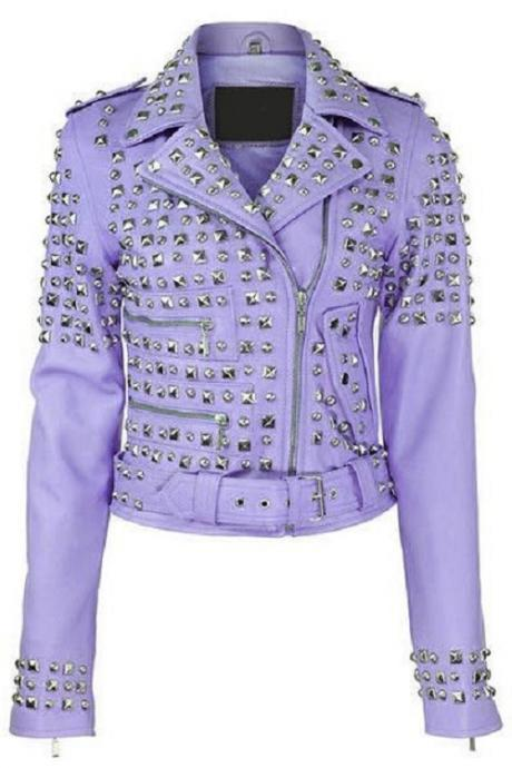 Made To Order Handmade Purple Color Women's Silver Studded Leather Jacket