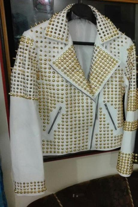 New Women Philipp Plein White Color Gold Studs Leather Jacket