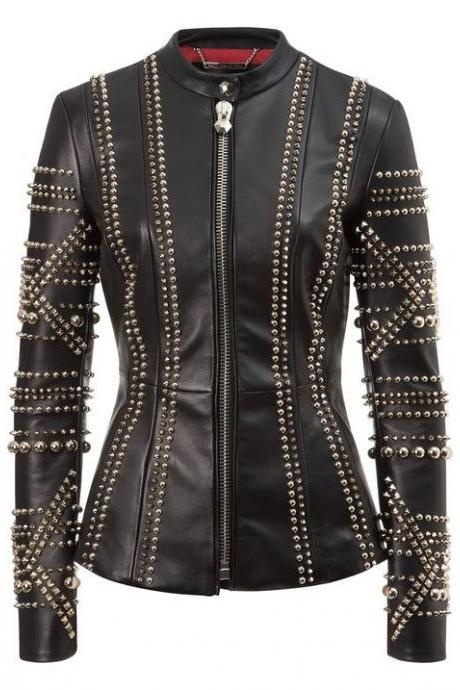 Customized Handmade Women's Philipp Plein Rock Star Silver Studded Leather Jacket