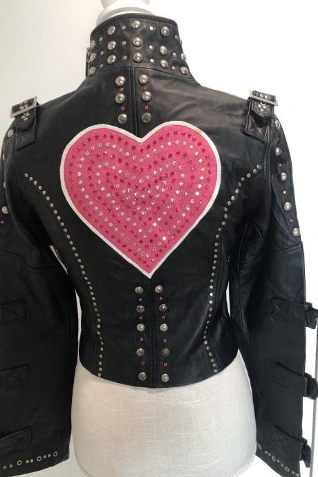 Handcrafted Women's Heart Crystal Studded Black Color Leather Jacket