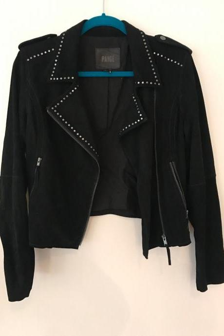 Handmade Paige Women Studded Black Suede Leather Jacket