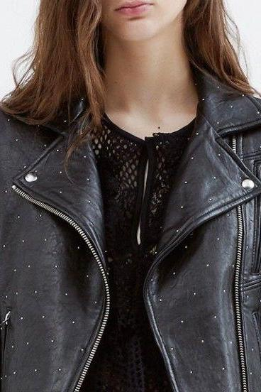 Women's Item Silver Studs Black Premium Leather Jacket
