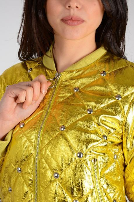 Customized Handmade Women's Lime Yellow Studded Bomber Real Leather Jacket