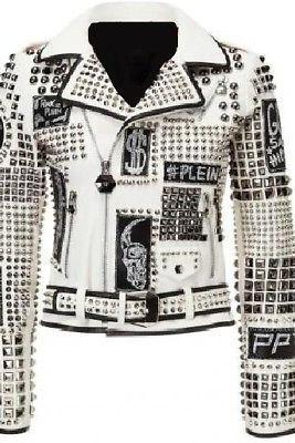 White Philipp Plein Punk Style Women's Full Studded Superior Leather Jacket