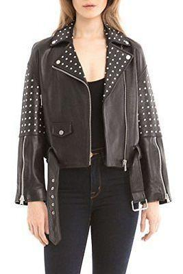 Made To Order New Item For Women's Black Color Leather Studded Jacket