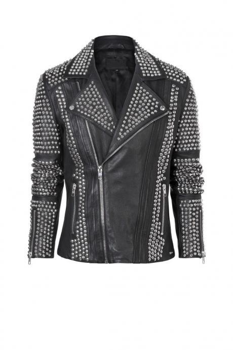 Made To Order Women's Silver Studded Genuine Cowhide Leather Jacket