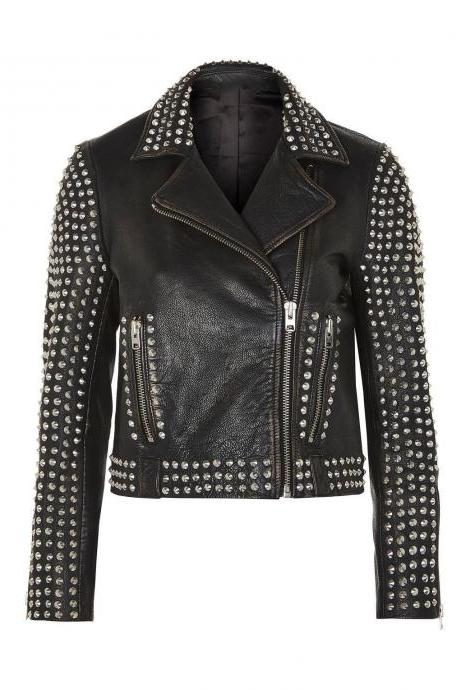 Handmade Women's Style Silver High Quality Studs Black Color Premium Leather Jacket