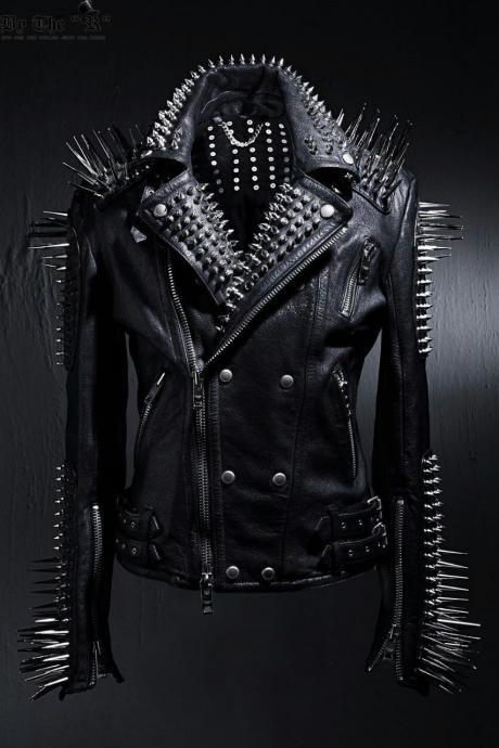 Men Punk Style Black Long Spikes Studded Genuine Leather Jacket