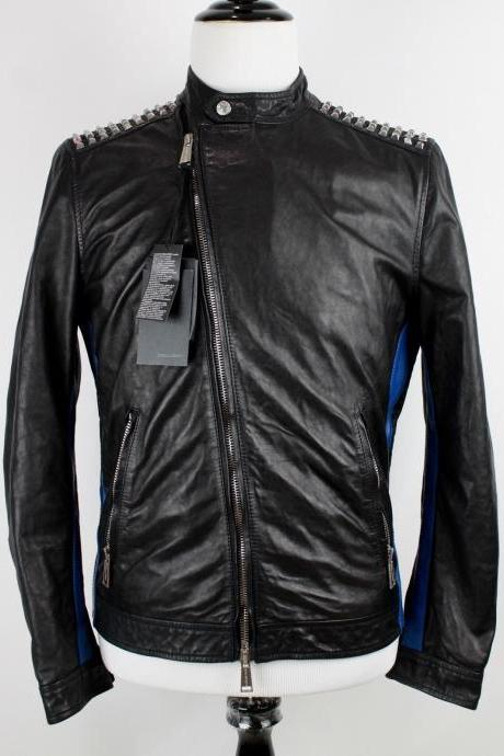 Handmade New Style Men's Black Blue Studded Genuine Leather Jacket