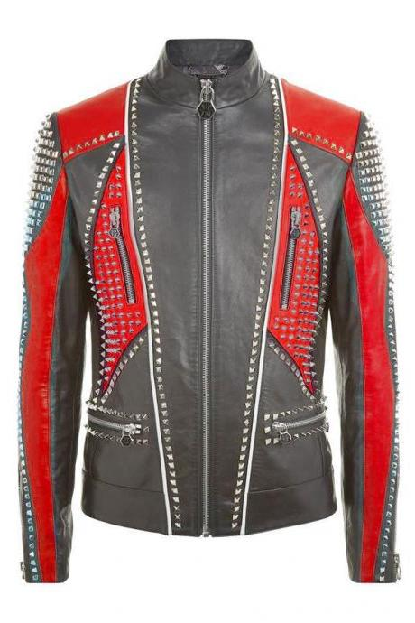 Handmade Men's Philipp Plein Full Studded Black Red Contrast Leather Jacket
