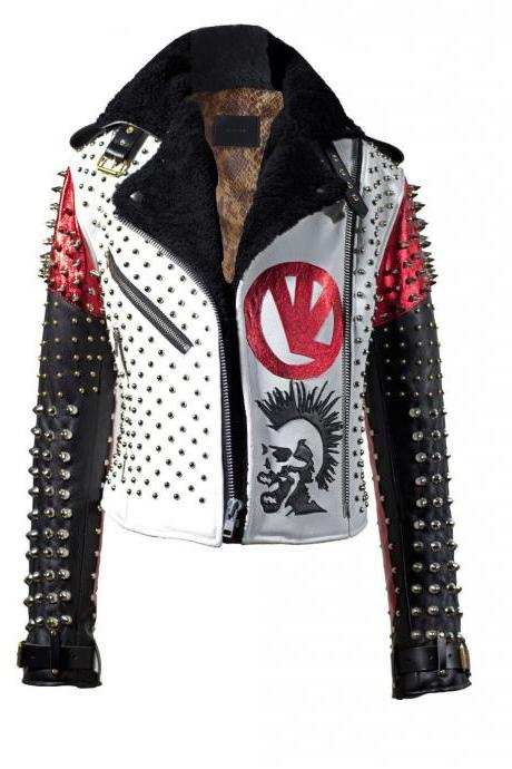 Customized Handmade Dead Men's Studded Patches White Black Red Leather Jacket