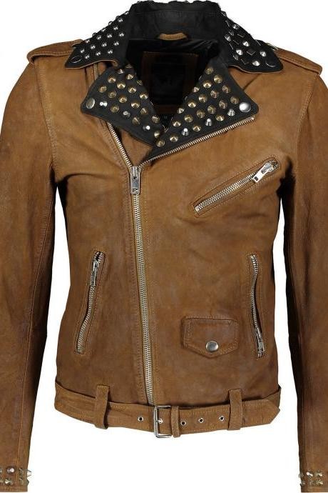 Men Diesel Gold Silver Studs Black Collar Brown Premium Belted Leather Jacket