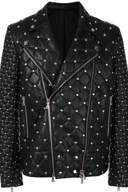 Made To Order New Men's Silver Studs Black Color Leather Jacket
