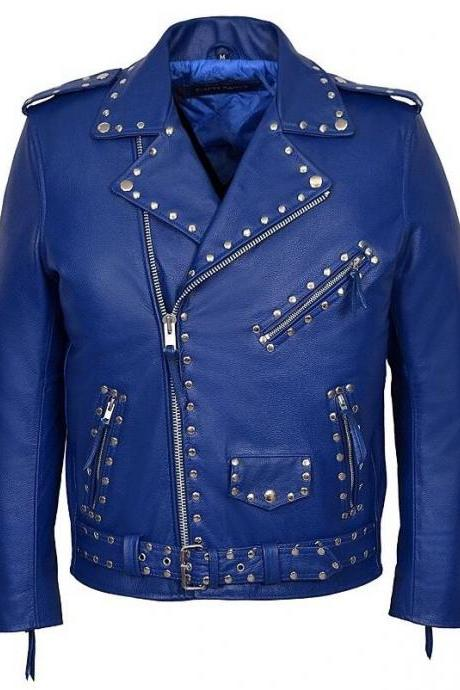 Men's Brando Style Silver Studs Slim Fit Blue Color Genuine Cowhide Leather Jacket