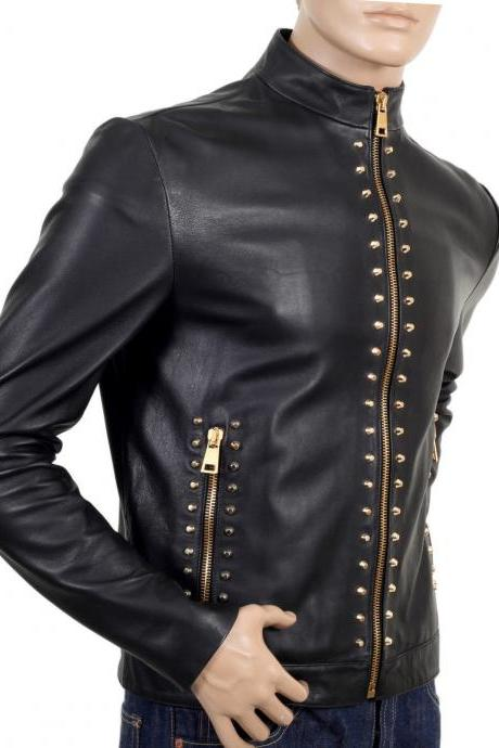 Handmade New Classic Men's Studded Black Color Leather Jacket