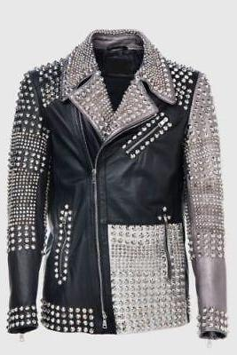 Men's Philipp Plein Multicolor Full Studded Leather Jacket
