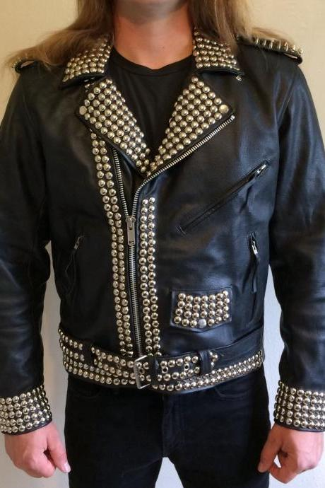 Handcrafted For Men's Silver Studded Black Color Leather Jacket