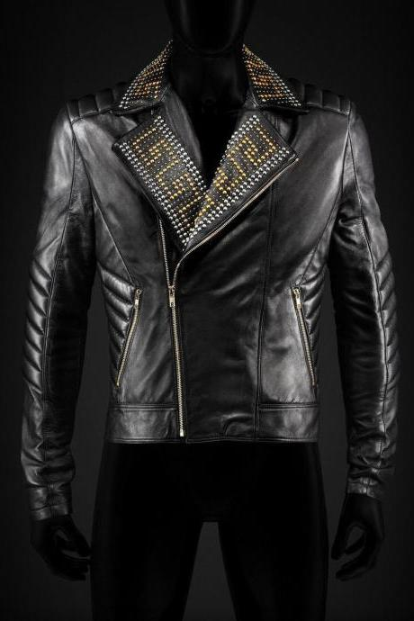 Handmade Men's Versace H&M Gold Silver Studs Black Real Leather Jacket