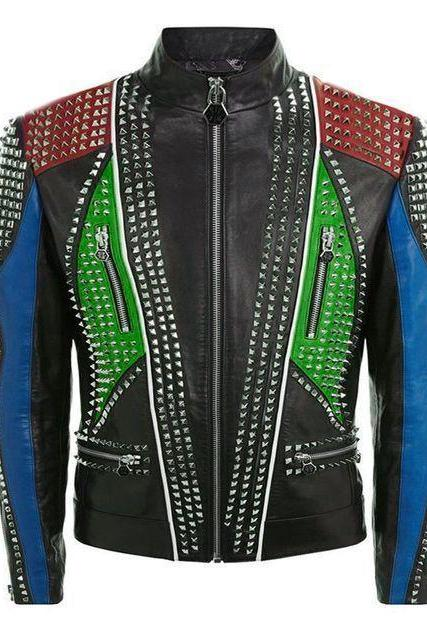 Customized Handmade Men's Multi Color Philipp Plein Silver Studded Leather Jacket