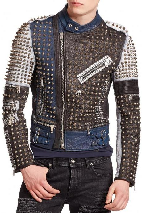 Made To Order Men's Gold Studded Multicolored Leather Jacket