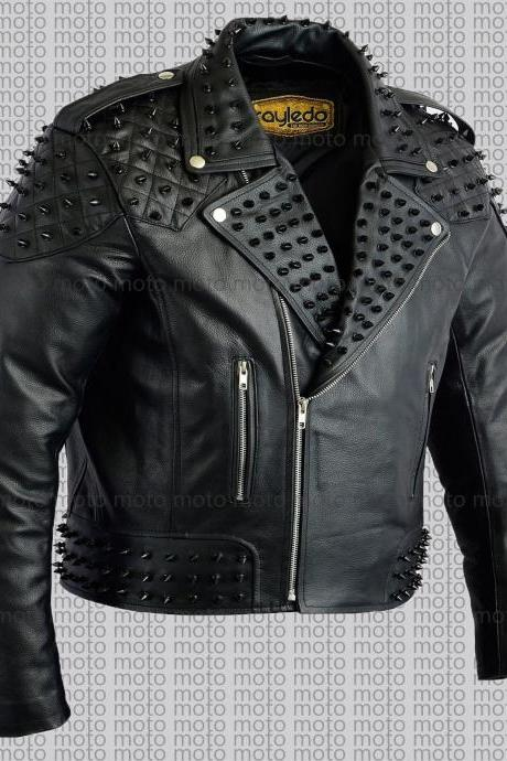 Customized Handmade Men's Full Black Studded Genuine Cowhide Leather Jacket