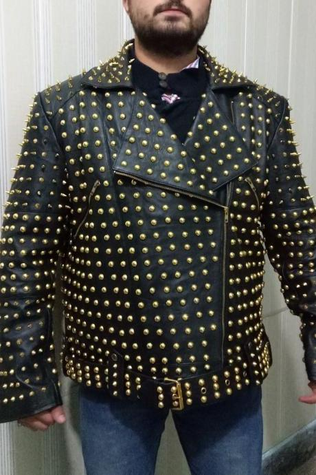 Men's Gold Studded Black Color Genuine Cowhide Leather Jacket