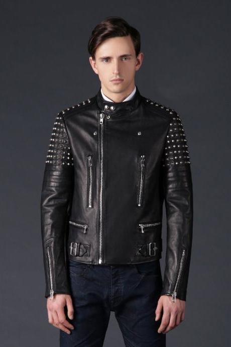 Made To Order Men's Rock Star Half Silver Studded Black Leather Jacket