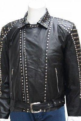 Men's Handmade New Studded Style Black Genuine Leather Jacket