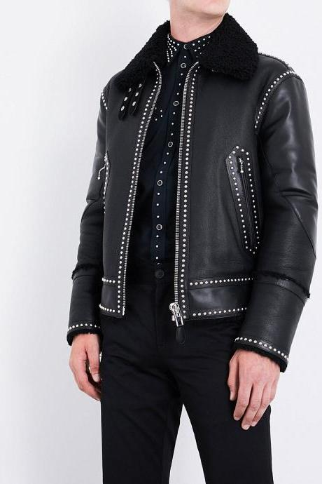 Customized Handmade Men's Studded Belted Black Genuine Leather Jacket