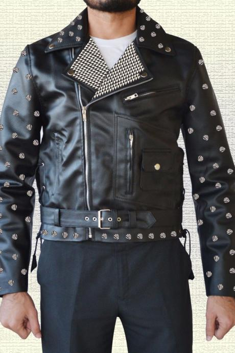 New Design Item For Men's Metal Studs Black Vintage Leather Jacket