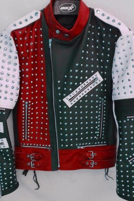 Made To Order Men's Full Studded Multicolor Biker Leather Jacket