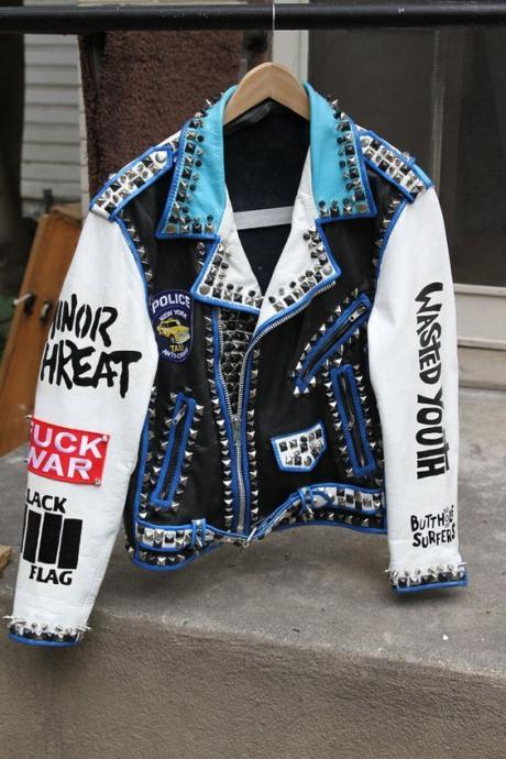 Handcrafted Men Multi color Punk Rock Stud Spikes Premium Leather Jacket