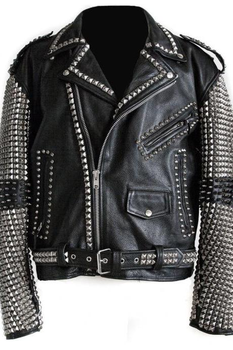 Handcrafted Men's Silver Studded Black Genuine Leather Jacket