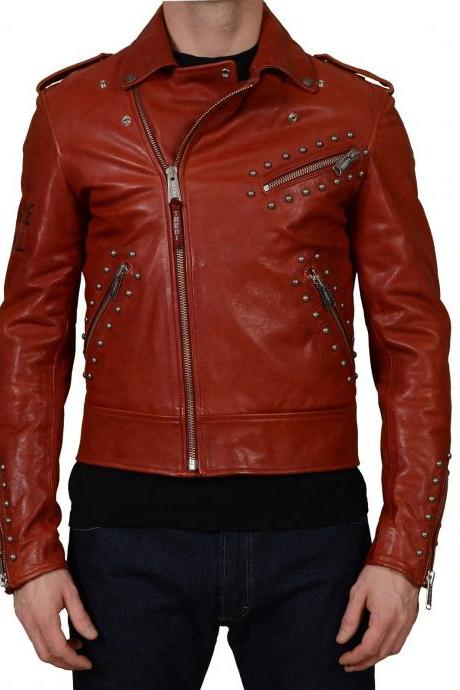 Men New Salt Ghost Rocker Silver Studs Red Genuine Leather Jacket
