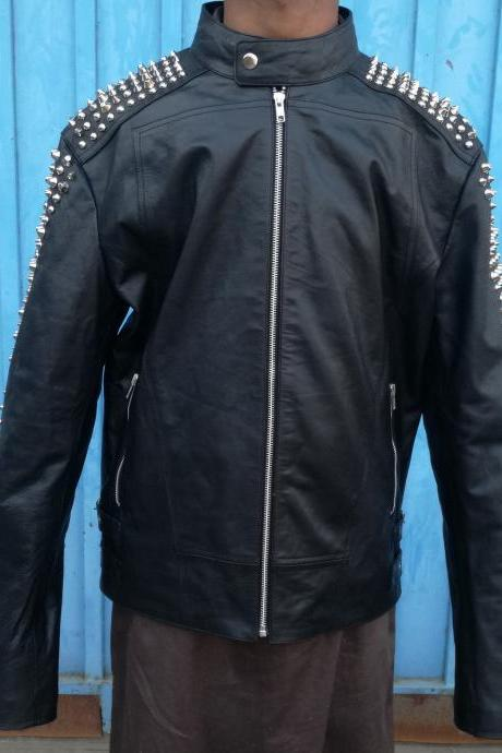 Philipp Plein Shoulder Arms Studded Black Leather Jacket