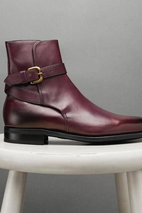 Men High Ankle Rounded Buckle Strap Jodhpur Maroon Leather Boots